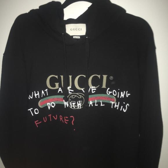 864cf78ce Gucci Sweaters | Coco Capitan Black Cotton Hoodie | Poshmark